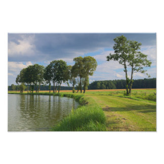 Rural landscape with trees, water and cloudy sky poster