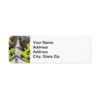 Rural landscapes and scenic views country church . label