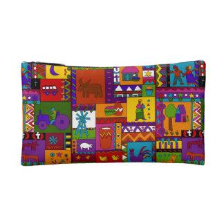 Rural Life Folk Art Multi-Color Cosmetic Bag