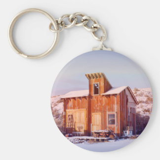 Rural Montana Country Rustic Old Wood ranch Basic Round Button Keychain