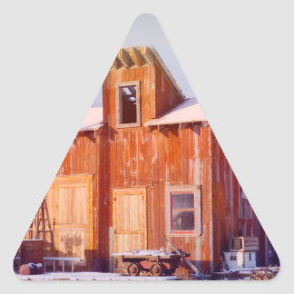 Rural Montana Country Rustic Old Wood ranch Triangle Sticker