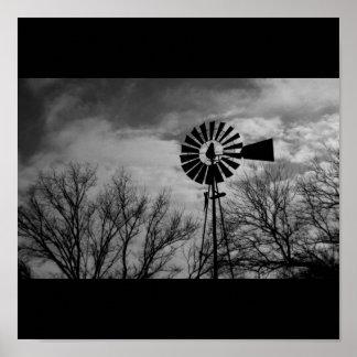 Rural Nebraska antique Windmill Winter Farm Poster