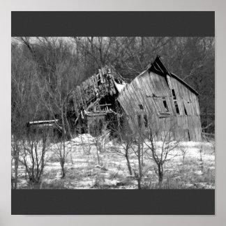 Rural Nebraska Barn B&W Print