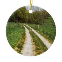 Rural Path In Green Spring Landscape Ceramic Ornament