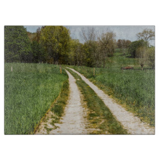 Rural Path In Green Spring Landscape Cutting Board