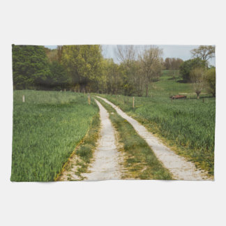 Rural Path In Green Spring Landscape Hand Towel