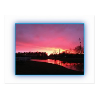 Rural Pink Sunset Postcard