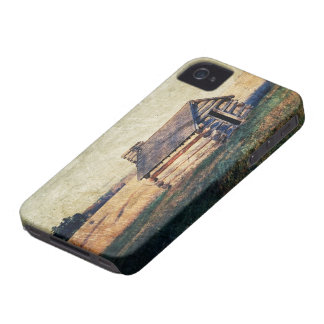 Rural prairie Primitive western country log cabin Case-Mate iPhone 4 Case