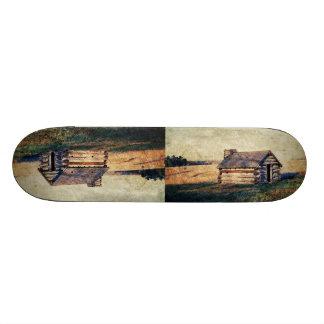 Rural prairie Primitive western country log cabin Skateboard Deck