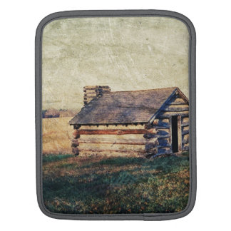 Rural prairie Primitive western country log cabin Sleeve For iPads