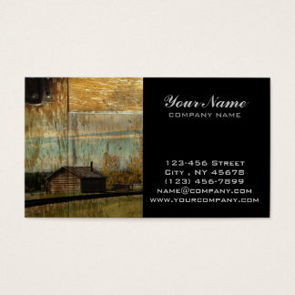 Rural Railway Primitive western country log cabin Business Card