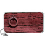 Rural Red Wood Wall & Metal Ring Portable Speaker