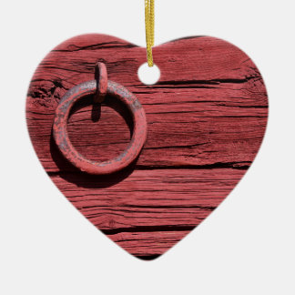 Rural Red Wooden Barn Wall Romantic Heart Christmas Ornament