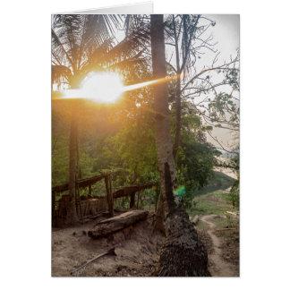 Rural Riverside Village on Mekong River, Laos Greeting Card