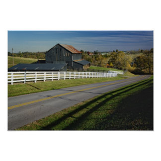 Rural road through Bluegrass region of 2 Poster