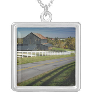 Rural road through Bluegrass region of 2 Silver Plated Necklace