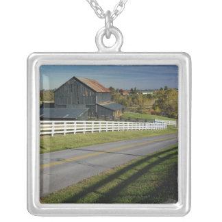 Rural road through Bluegrass region of 2 Square Pendant Necklace