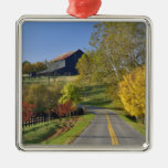 Rural road through Bluegrass region of Kentucky Square Metal Christmas Ornament