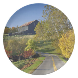 Rural road through Bluegrass region of Kentucky Party Plate