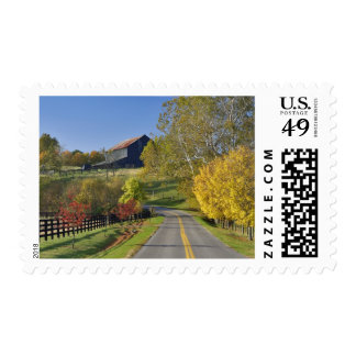 Rural road through Bluegrass region of Kentucky Postage