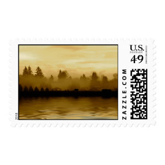 Rural scene in sepia postage