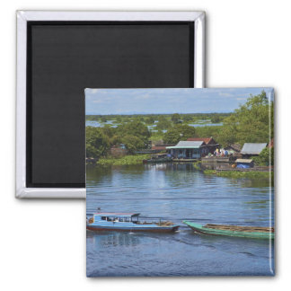 Rural scene, Tonle Sap Lake, Siem Reap, Angkor, 2 Inch Square Magnet