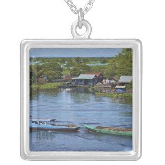 Rural scene, Tonle Sap Lake, Siem Reap, Angkor, Square Pendant Necklace