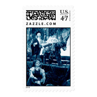 Rural scene with puppets postage stamp