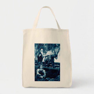 Rural scene with puppets tote bag