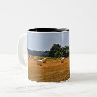 Rural Scenic Hay Bales in a Field Two-Tone Coffee Mug