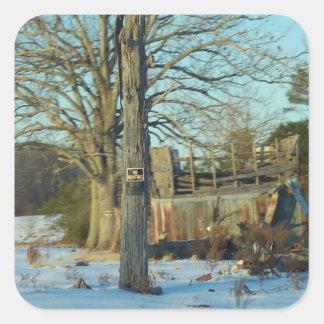 Rural Snow Scene - Wilson County, NC Square Stickers