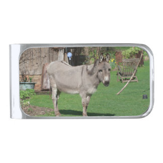 Rural Still Life With Donkey Silver Finish Money Clip