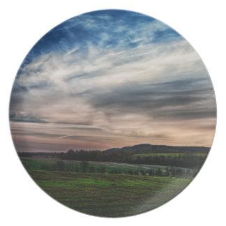 Rural Sunset Landscape Party Plates