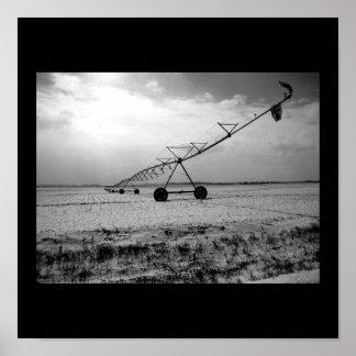 Rural Winter Farm Irrigation B&W Poster