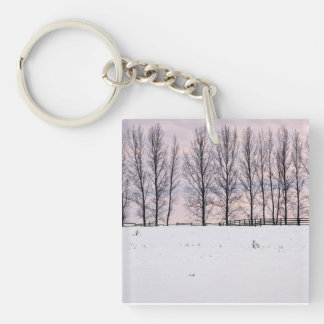 Rural winter landscape keychain