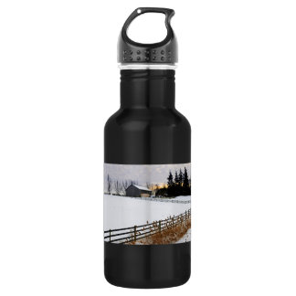 Rural winter landscape 18oz water bottle