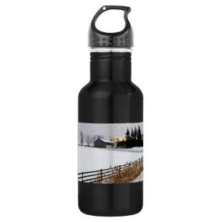 Rural winter landscape stainless steel water bottle