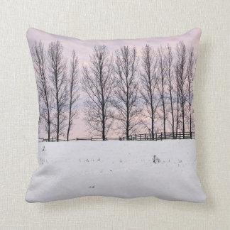 Rural winter landscape throw pillows