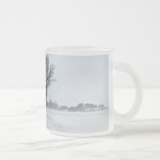 Rural winter road 10 oz frosted glass coffee mug