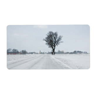 Rural winter road shipping labels