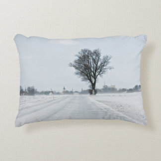 Rural winter road accent pillow