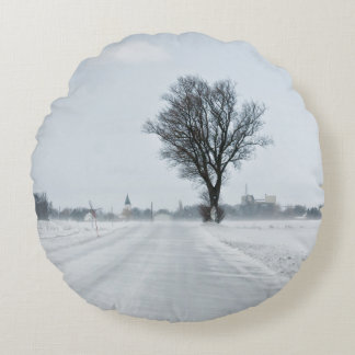 Rural winter road round pillow
