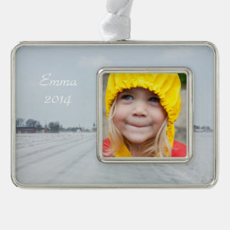 Rural winter road silver plated framed ornament