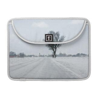 Rural winter road sleeves for MacBooks