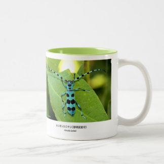 ruriboshikamikirimushi and Blue Longhorn Beetle wi Two-Tone Coffee Mug