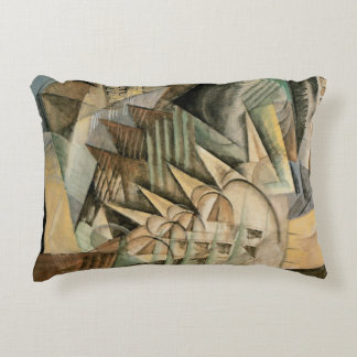 Rush Hour, New York by Max Weber, Vintage Cubism Accent Pillow