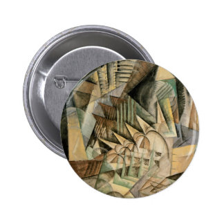 Rush Hour, New York by Max Weber, Vintage Cubism Pinback Button