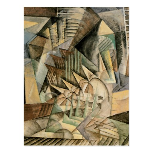 Rush Hour, New York by Max Weber, Vintage Cubism Postcard
