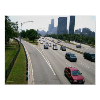 Rush Hour Traffic in Chicago Poster
