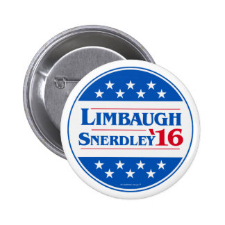 Rush Limbaugh for President 2016 Snerdley for VP 2 Inch Round Button